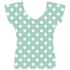 Light Blue And White Polka Dots Women s V-Neck Cap Sleeve Top