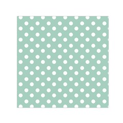 Light Blue And White Polka Dots Small Satin Scarf (Square)