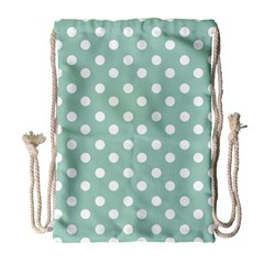 Light Blue And White Polka Dots Drawstring Bag (large)