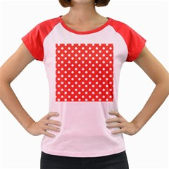 Indian Red Polka Dots Women s Cap Sleeve T Shirt