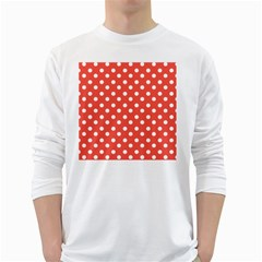 Indian Red Polka Dots White Long Sleeve T Shirts