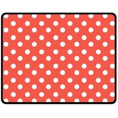 Indian Red Polka Dots Fleece Blanket (Medium)