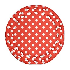 Indian Red Polka Dots Round Filigree Ornament (2Side)