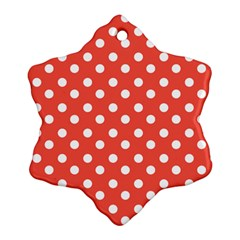Indian Red Polka Dots Snowflake Ornament (2-Side)