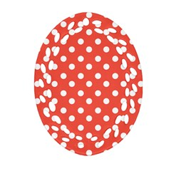 Indian Red Polka Dots Oval Filigree Ornament (2 Side)