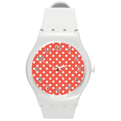 Indian Red Polka Dots Round Plastic Sport Watch (m)