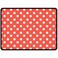 Indian Red Polka Dots Double Sided Fleece Blanket (Large)