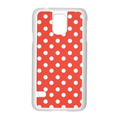 Indian Red Polka Dots Samsung Galaxy S5 Case (White)