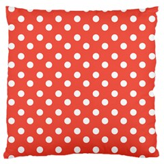 Indian Red Polka Dots Large Flano Cushion Cases (one Side)