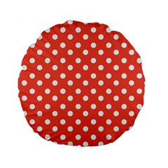 Indian Red Polka Dots Standard 15  Premium Flano Round Cushions