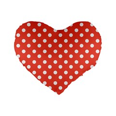 Indian Red Polka Dots Standard 16  Premium Flano Heart Shape Cushions