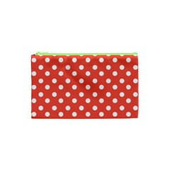 Indian Red Polka Dots Cosmetic Bag (XS)