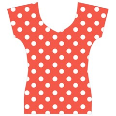 Indian Red Polka Dots Women s V-Neck Cap Sleeve Top