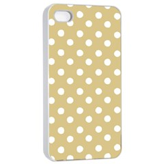Mint Polka And White Polka Dots Apple Iphone 4/4s Seamless Case (white)