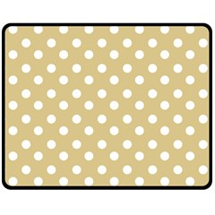 Mint Polka And White Polka Dots Double Sided Fleece Blanket (Medium)