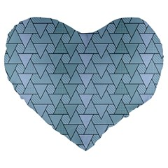 Geo Fun 7 Light Blue Large 19  Premium Flano Heart Shape Cushions