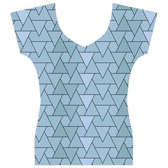 Geo Fun 7 Light Blue Women s V-Neck Cap Sleeve Top