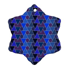 Geo Fun 7 Inky Blue Snowflake Ornament (2 Side)