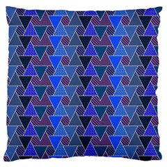 Geo Fun 7 Inky Blue Large Flano Cushion Cases (One Side)