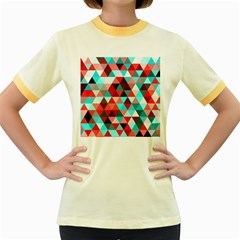 Geo Fun 07 Red Women s Fitted Ringer T-Shirts