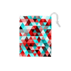 Geo Fun 07 Red Drawstring Pouches (small)
