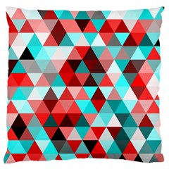 Geo Fun 07 Red Large Flano Cushion Cases (One Side)