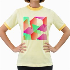 Geometric 03 Pink Women s Fitted Ringer T Shirts