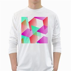 Geometric 03 Pink White Long Sleeve T-Shirts