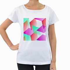 Geometric 03 Pink Women s Loose Fit T Shirt (white)