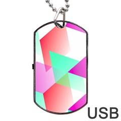 Geometric 03 Pink Dog Tag USB Flash (One Side)