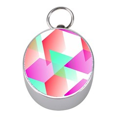Geometric 03 Pink Mini Silver Compasses