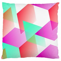 Geometric 03 Pink Large Flano Cushion Cases (one Side)