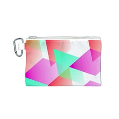 Geometric 03 Pink Canvas Cosmetic Bag (S)