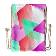 Geometric 03 Pink Drawstring Bag (large)