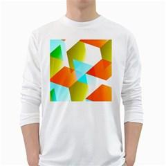 Geometric 03 Orange White Long Sleeve T-Shirts