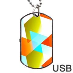 Geometric 03 Orange Dog Tag USB Flash (One Side)