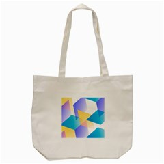 Geometric 03 Blue Tote Bag (Cream)