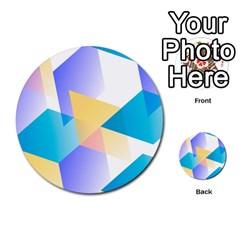 Geometric 03 Blue Multi-purpose Cards (Round)