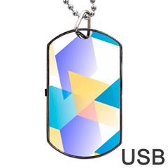 Geometric 03 Blue Dog Tag USB Flash (One Side)