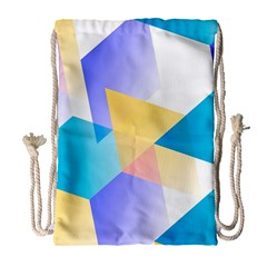 Geometric 03 Blue Drawstring Bag (Large)