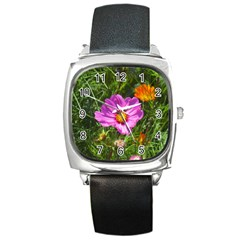 Amazing Garden Flowers 24 Square Metal Watches