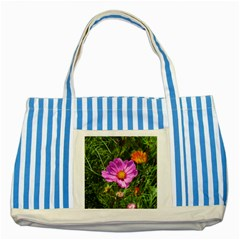 Amazing Garden Flowers 24 Striped Blue Tote Bag