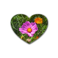 Amazing Garden Flowers 24 Rubber Coaster (heart)