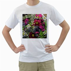Amazing Garden Flowers 21 Men s T Shirt (white) (two Sided)