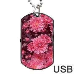 Awesome Flowers Red Dog Tag USB Flash (One Side)
