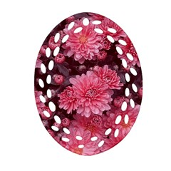 Awesome Flowers Red Oval Filigree Ornament (2-Side)