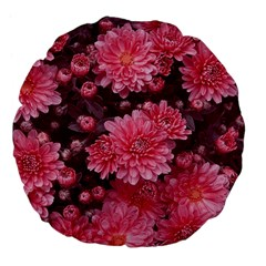 Awesome Flowers Red Large 18  Premium Flano Round Cushions