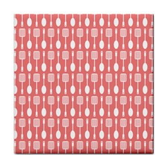 Coral And White Kitchen Utensils Pattern Tile Coasters