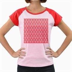 Coral And White Kitchen Utensils Pattern Women s Cap Sleeve T Shirt