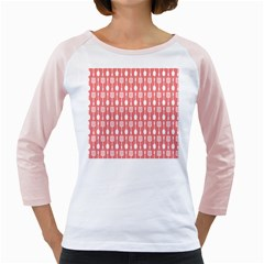 Coral And White Kitchen Utensils Pattern Girly Raglans